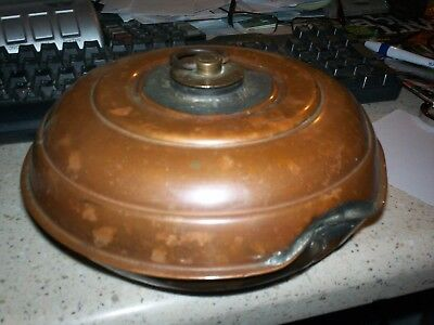 Antique/vintage round copper hot water bottle with brass stopper
