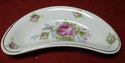 Vintage LEFTON CHINA Hand Painted CRESCENT DISH  Gold Trim w. Pretty PINK ROSES