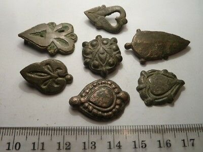 2139	Lot of 7 ancient Roman and Byzantine bronze appliques / mounts / attachable