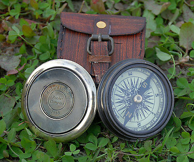 Antique Robert Frost Brass & Copper Vintage Poem Compass With Leather Case Gift