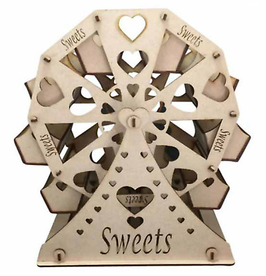 Y28 Wedding Ferris Wheel Sweets Candy Cart Heart Shaped Cut Outs Fairground MDF