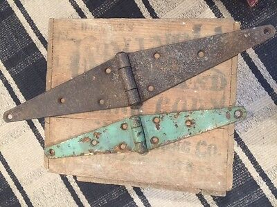 Old Antique Metal Strap Hinges TWO Farm Hardware Green Paint Cabin Primitive