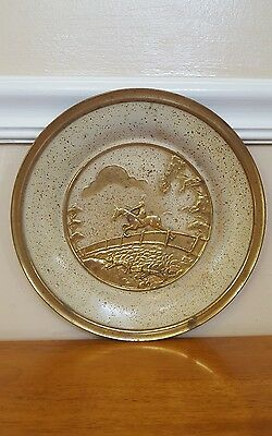 vintage hammered brass metal wall plate made in England equestrian horse rider