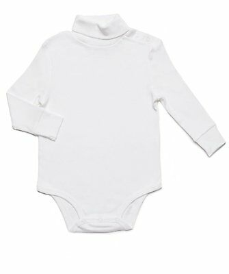 Leveret Baby's Toddlers White Solid Turtleneck Bodysuit 100% Cotton (6M-2Y)