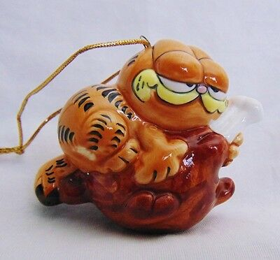 Collectible Vintage Garfield the Cat on a Turkey Leg Ornament Thanksgiving VGUC