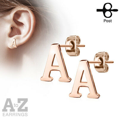 PAIR Rose Gold Plated Steel Initial / Alphabet 20g Earrings - A to Z available!