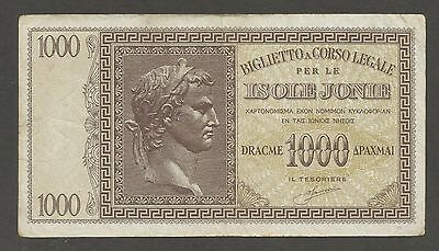 Greece Ionian Islands 1000 Drachmai (1941); F+; P-M17a; Italian Occupation,WWII