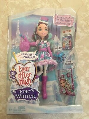 """Monster High 11"""" Doll EVER AFTER MADELINE HATTER MAD SNOW EPIC WINTER CHRISTMAS"""