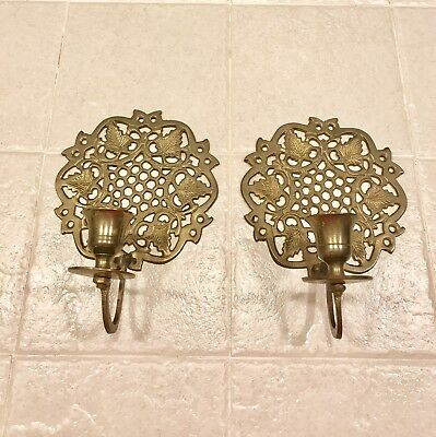 Vintage Wall Sconce,Brass Wall Decoration, Flower Wall Hanging Set of 2