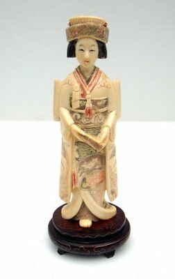 Vtg Antique Hand Carved Bovine Bone Asian Japanese Geisha Lady Statue w/ Stand