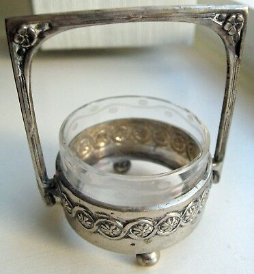 European 800 Sterling Silver & Crystal - Tiny Salt Condiment Or ?? Bowl