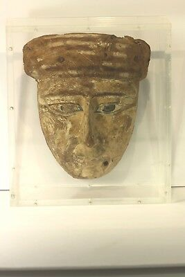Antique Ancient Egyptian Painted Sarcophagus Wooden Mask 800-400 bc Guarantee