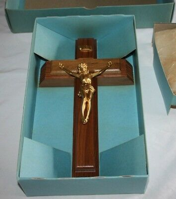 Vintage Wooden Crucifix Sick Call Last Rites Candle Holy Water Compartment INRI