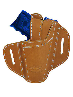 New Barsony Ambidextrous Tan Leather Pancake Holster for Compact 9mm 40 45