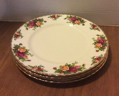 Four Royal Albert Old Country Roses 10 1/2 Inch Dinner Plates