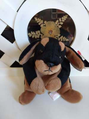TY Beanie Baby Babies DOBY Doberman Dog NEW Retired from Year 1997 PE Pellets