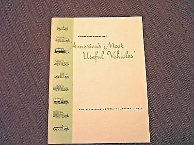 """Vintage Willys-Overland Sales Booklet, """" America's Most Useful Vehicles"""""""