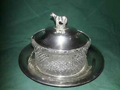 vintage 50's silver-plated and glass butter dish