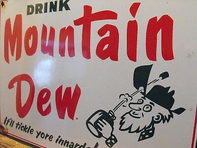 """Vintage MOUNTAIN DEW Soda Porcelain Sign """"It'll Tickle Your Inards!"""" Near MINT!"""