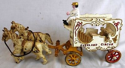 Antique Hubley Cast Iron Horse Drawn Overland Circus Wagon