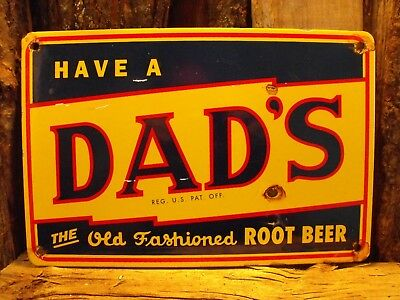 Vintage DAD'S ROOT BEER Soda Porcelain Sign Country Store Advertising Excellent