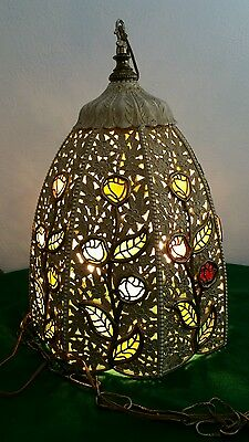 Bohemian/Victorian Ornate Hanging Lamp - Stained glass pieces-rose/flower/leaves