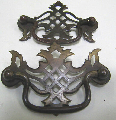 Lot of 2 Vintage Pierced Brass Plated Drop Bale Pull Drawers