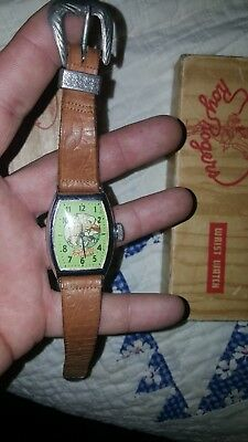 VINTAGE 1950'S ROY ROGERS AND TRIGGER WRIST WATCH & ORIGINAL BAND and BOX