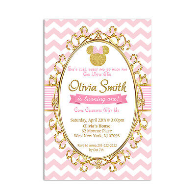 Pink And Gold Minnie Mouse Personalized Birthday Party Invitation