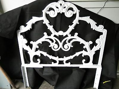 Vintage Cast Iron Wrought Iron Headboards Pair Powder Coated in White