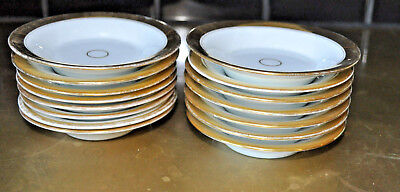 lot of 15 Antique Old Paris Porcelain saucers/bowls white and real gold