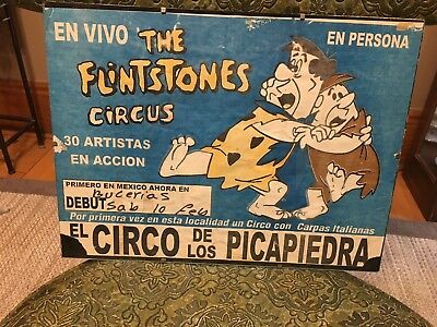 Rare vintage Flintstones Circus poster from Mexico