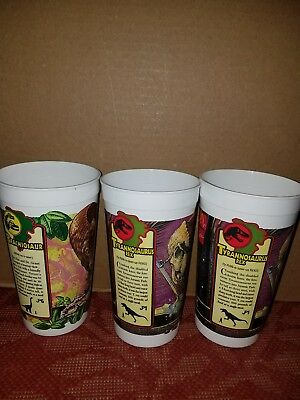 Lot of 3 Mcdonalds Jurassic Park Cups