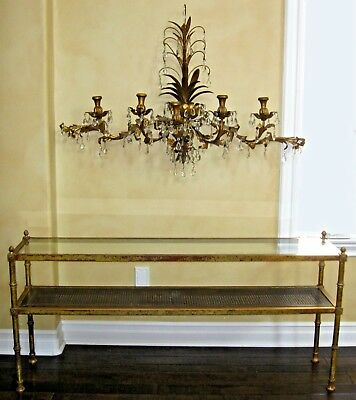 """Vintage Italian Tole Wall Candelabra Sconce 49"""" Wide Gold Gilt 115 Crystals"""