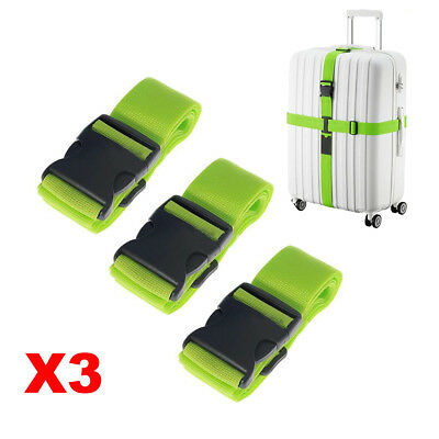 3X Adjustable Backpack Luggage Suitcase Strap Travel Packing Belt Green Fast US