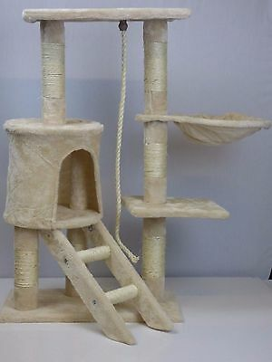 Cat tree Beige with 90 cm natural sisal scratching post and accessories Hammock,