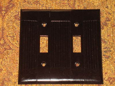 1 Vtg  Atq Nos Bakelite Double Switchplate Cover Art Deco Brown Iop Midcentury