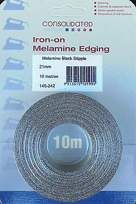Iron-on Melamine Edging – Black, White or Antique - Stipple Finish - 10 Metres.