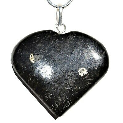 """CHARGED Greenlandic Nuummite Crystal HEART Perfect Pendant™ + 20"""" Chain"""