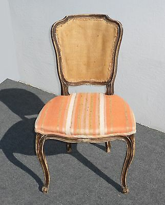 Vintage French Provincial ACCENT CHAIR Peach & Burlap Back RUSTIC CHIC SHABBY