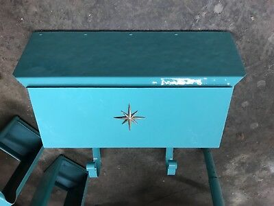 vintage turquoise mailbox midcentury hammered