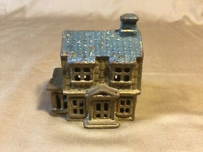 Antique A.C. Williams Cast Iron Colonial House Coin Bank early 1900's