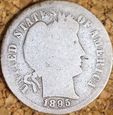 1895-S Barber Dime - CIRCULATED GOOD LOW 1.1M MINTAGE RAW  (H816)