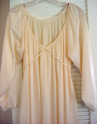 "Romantic Vintage JCPenney L/S Ivory Nylon Nightgown Front Ties Belt 90"" Sweep L"