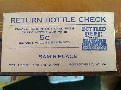 Beer Ad Sam's Place Montgomery Wv 1940's Return Card With Bottle Get 5 Cents