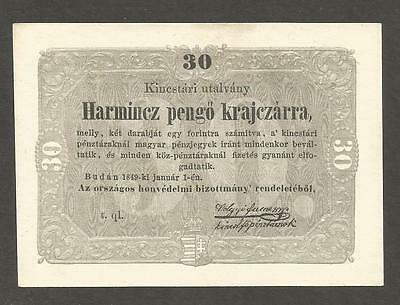 Hungary 30 Krajcar 1849; AU; P-S122; National Army Defense Committee