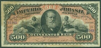 BRAZIL BRASIL EMPIRE 1885 500 REIS 2 SERIAL # - RARE NOTE BANKNOTE - Pick# A243b
