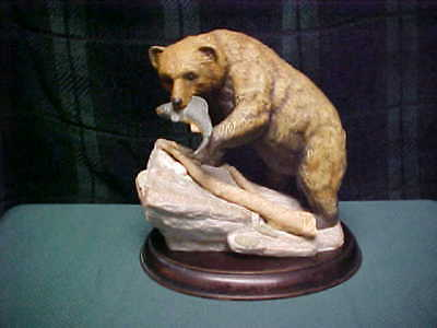 Homco Endangered Species Masterpiece 1994 Brown Bear Porcelain Figurine W/Base