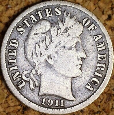 1911-S Barber Dime - FINE+ FULL LIBERTY COIN  (H839)