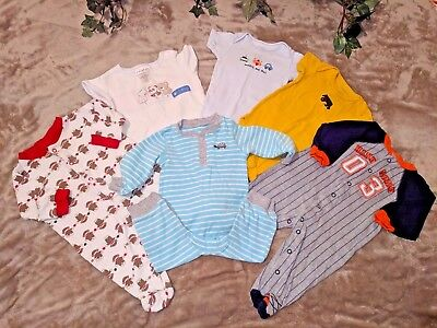 6-piece lot, 6 Month baby boy Carter clothing sleepers onsies